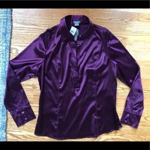 NWT New Ann Taylor Silky Stretch Blouse 14 Large